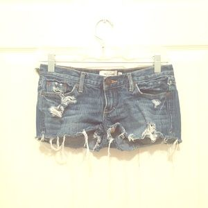 A&F distressed denim shorts