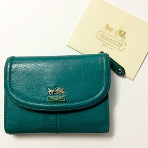 Coach Madison Teal genuine leather trifold wallet