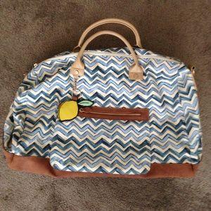Handbags - Blue and White Chevron Lemon Weekender Duffel Bag
