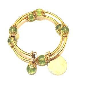 Anthropologie Gold and Green Bracelet