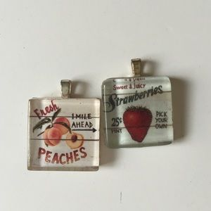 Two charms for necklace vintage fruit signs