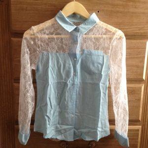 Blue contrast lace blouse