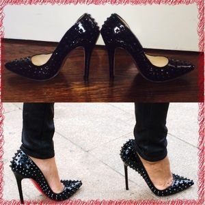 72% off JoJo Cat Shoes - Red bottom black studded pumps shoes ...