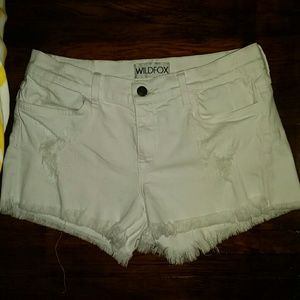 WILDFOX Distressed White Cut Off Shorts 28
