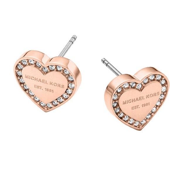 206573c89 Michael Kors Jewelry | Logo Heart Stud Earrings Rose Gold | Poshmark