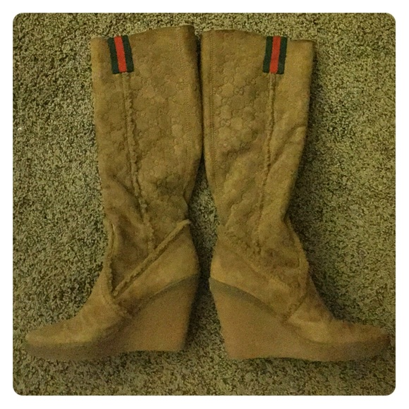 69 gucci boots gucci logo caramel colored wedge