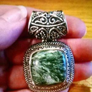 Jewelry - Seraphinite Balinese Sterling Slide Pendant