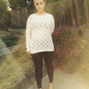 Forever 21 Sweaters - White Oversized Open Knit Crochet Sweater Size S