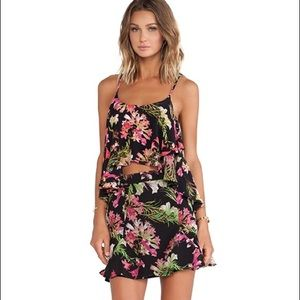 FLORAL! NWT Lovers & Friends cropped cami &skirt