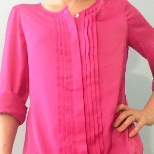 Banana Republic fuchsia button down blouse