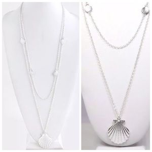 Custom Jewelry - D26 Silver Long Layered Seashell Necklace