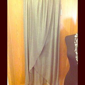 Dresses & Skirts - Asymmetrical Gray Cotton Skirt