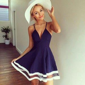 Summer Blue sailor dress beach top white