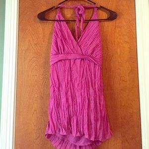 Pink ruffle tie halter top medium