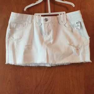 Wet seal white distressed denim mini skirt 13