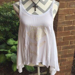 NWT Sexy White Flowy Crochet Top Size Large Gauze