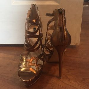 ShoeMint Bronze Strappy Heels