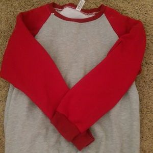 Red and grey sweater