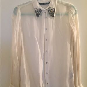 Zara Sheer Button Down Shirt with Jeweled Collar