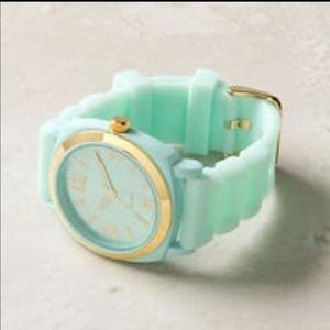 Anthropologie Viscid Watch Rubber Jelly Band Mint
