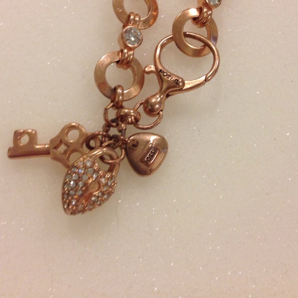 e1716a479 Fossil Jewelry | Heart And Key Charm Bracelet Rose Gold | Poshmark