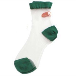 Brandy Melville Accessories - Green Sheer Bandaid Socks