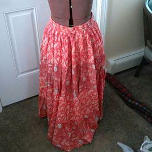 Orange flowered peasant skirt