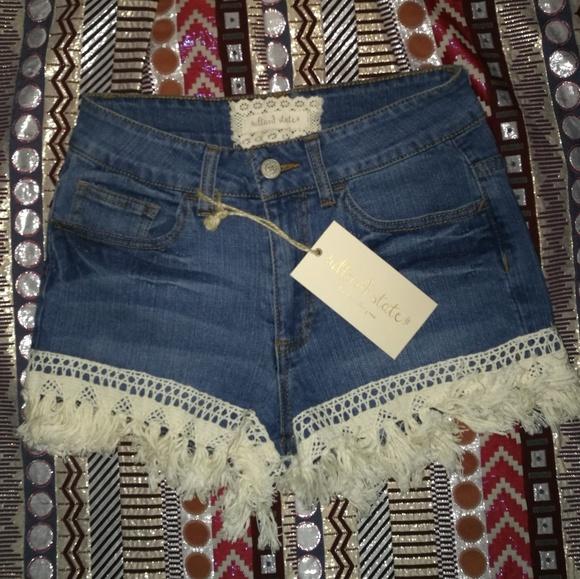 5748bc40128f67 Altar'd State Jeans | Denim Tassel Fringe Shorts | Poshmark