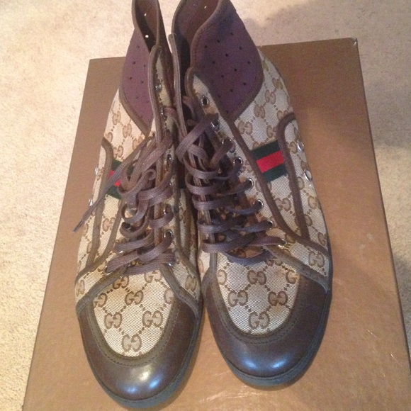 aa516608e77 Gucci Shoes - Gucci brown high top sneakers