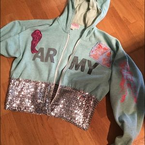 Anthropologie Tops - FRESH LA sequin army hoodie