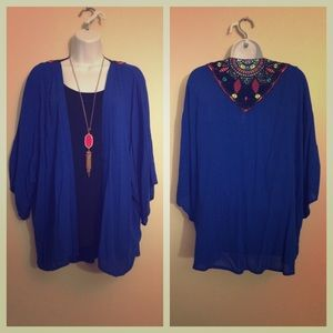 Royal Blue Kimono Top with Colorful Crochet Back