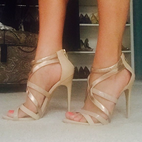Steve Madden Shoes Steve Madden Gold Nude Open Strappy