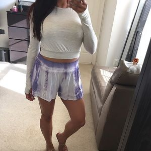 Pants - Purple tie dye shorts