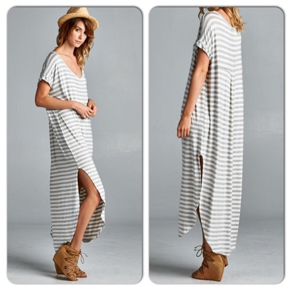 NWT Boho Oversized Striped T-Shirt Maxi Dress L L from Candice's ...