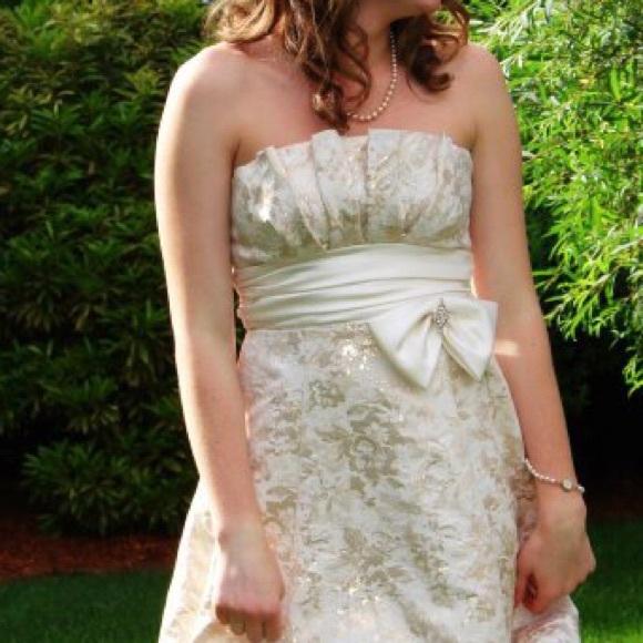 David's Bridal Dresses & Skirts - Gold strapless semi formal or holiday dress