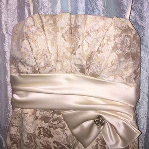 David's Bridal Dresses - Gold strapless semi formal or holiday dress