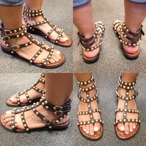 a3809924f3c5c6 Sam Edelman Shoes - Sam Edelman EAVAN Gold Studded Gladiator Sandals