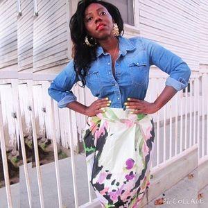 Jonathan Martin Dresses & Skirts - Beautiful Cotton Abstract Print Skirt