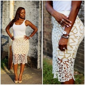 Dresses & Skirts - White Lace Pencil Skirt