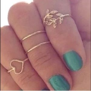BOHO Leaf and heart knuckle midi ring set