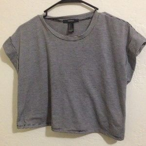 F21 cropped stripped tee