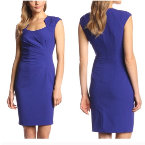 cb719d99 Calvin Klein Dresses | Ck Blue Petite Cap Sleeve Ruched For Jiaekmre ...