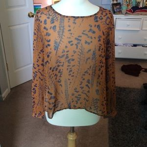 Brown and Navy Blue Printed Blouse