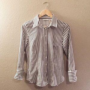Zara Basic button down - white and grey