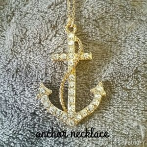 Gold and rhinestone anchor necklace