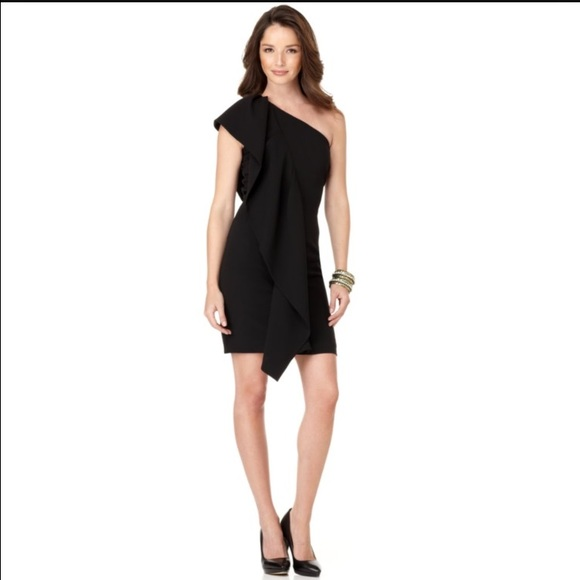 2ac51d777af Calvin Klein Dresses & Skirts - Calvin Klein One Shoulder Ruffle Black Dress