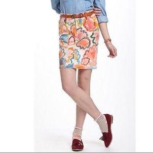 Anthropologie Hand Painted Denim Skirt