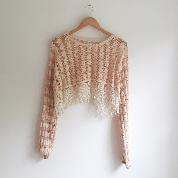 ff2ff4c2c7 Free People Sweaters - Free People Crocheted Lace Pullover Crop Sweater