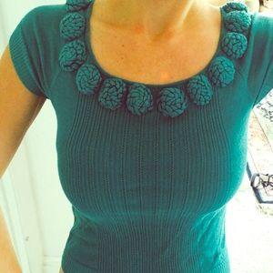 CATHERINE MALANDRINO Turquoise flower knit