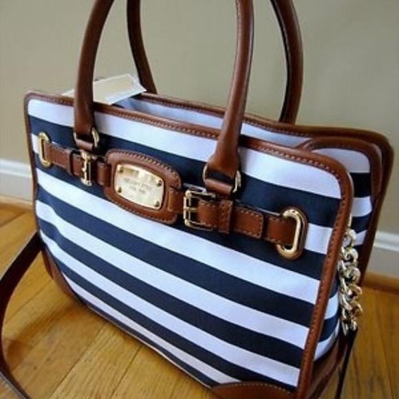 MK white   blue striped Hamilton Large handbag 611e53129e057